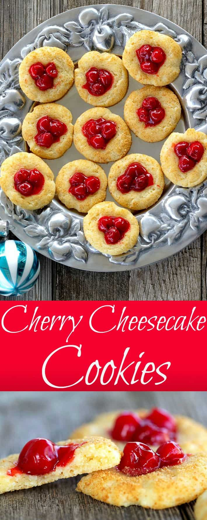 Cherry Cheesecake Cookies have the flavor of your favorite cheesecake recipe in a bite-sized, easy to achieve cookie. The dough contains cream cheese which is then rolled in graham cracker crumbs, topped with cherry pie filling before baking. #cookies #cheesecake