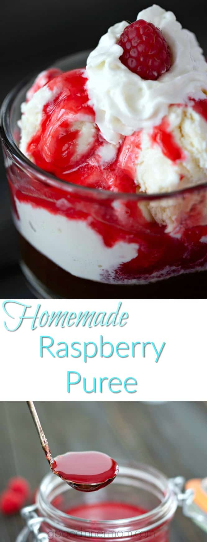 A simple Raspberry Puree easy to make from scratch without ingredients you don't want. Pour over ice cream, cheesecake, brownies, or mix in hot chocolate. #desserts #easyrecipes