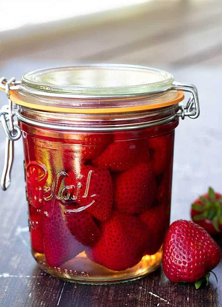 strawberries in a glass jar