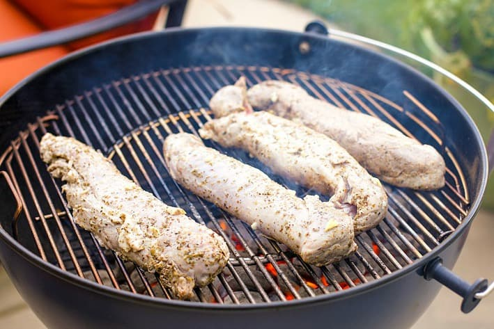 pork tenderloins on grill