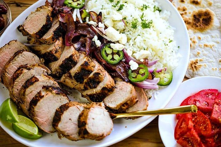 pork tenderloin sliced on plate