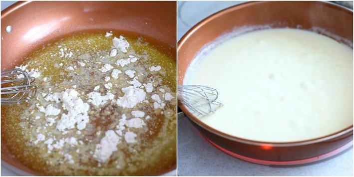 white sauce in skillet