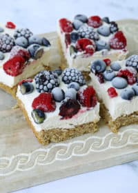 mixed berries and cream bars on a serving tray