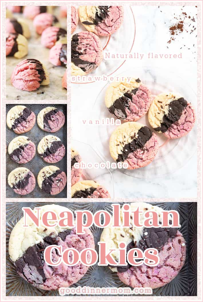 Pinterest pin of Neapolitan cookies shown on baking sheets and clear plates
