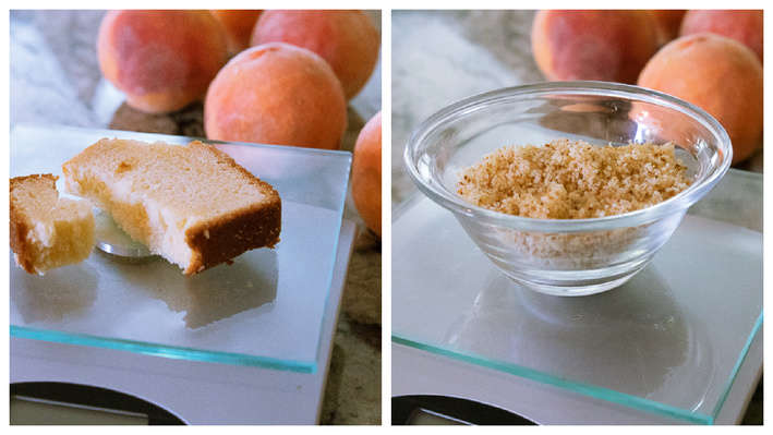 Sliced cake on scale in left photo. Cake crumbs after being ground in food processor in right photo