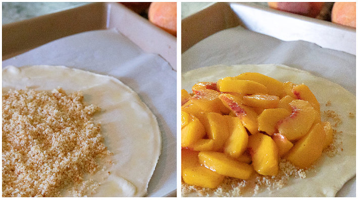 Prep photos of puff pastry tart. Left with cake crumbs in center. Right with peaches on top of crumbs.