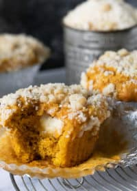 close up of pumpkin cream cheese muffin with bite taken out of it. muffins in the back with baking tin. streusel on top