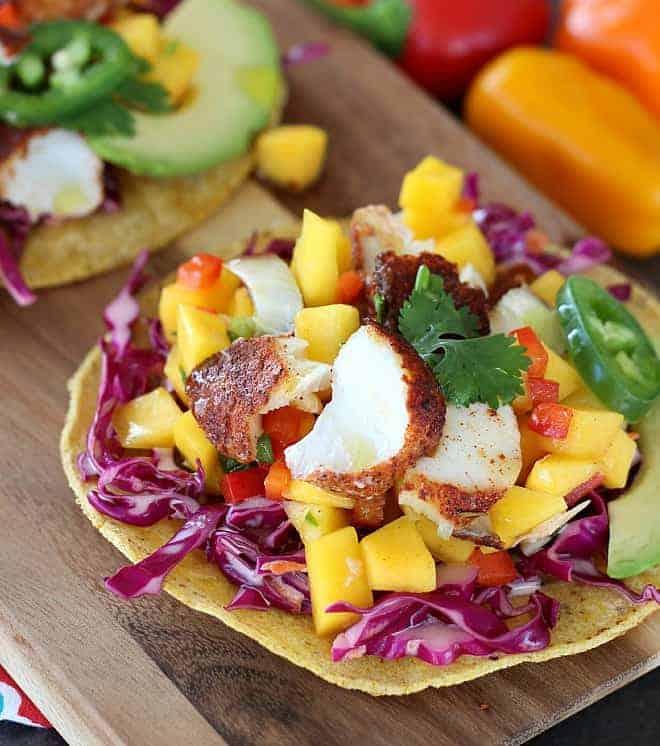 Blackened Fish Tacos with Fresh Mango Salsa