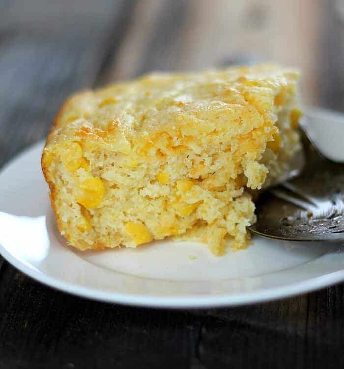 Quick Corn Spoonbread is a hybrid of cornbread, corn souffle' and stuffing all in one. One bowl prep uses Krusteaz cornbread mix, sour cream and whole kernel corn.