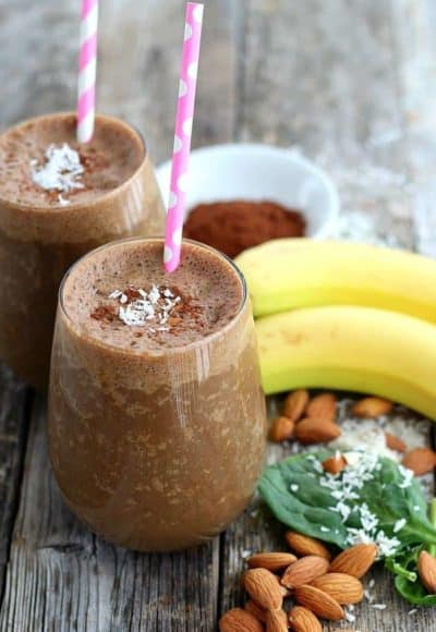 This smoothie is healthy, yet rich and chocolatey delicious. Low in sugar, Almond Joy Smoothie is rich in chocolate, coconut and almond taste.