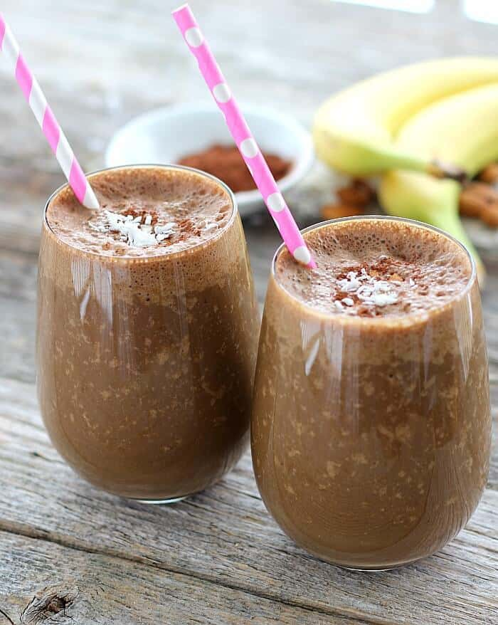 Almond Joy Smoothie is rich in chocolate, coconut and almond flavor and low in sugar.