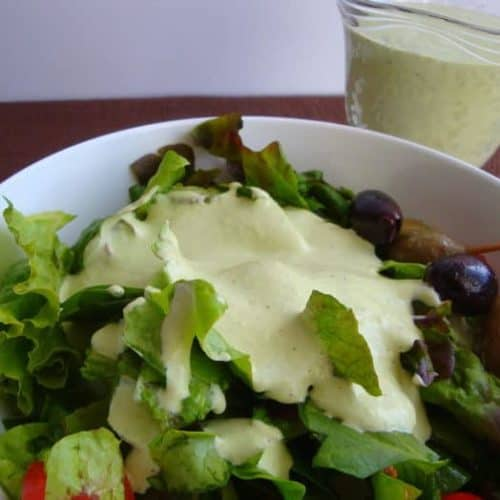 Green Goddess Salad Dressing on salad