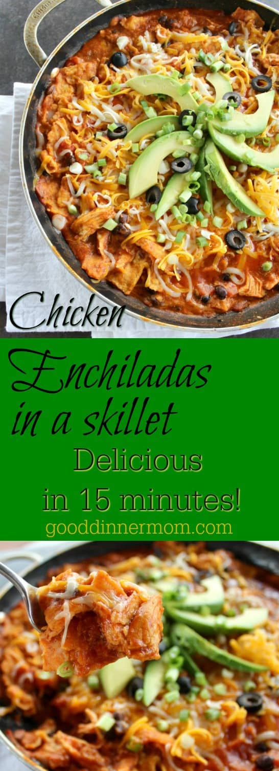 These Chicken Enchiladas have authentic enchilada flavor in a snap! Leave out the chicken for a perfect vegetarian meal. A must-try.