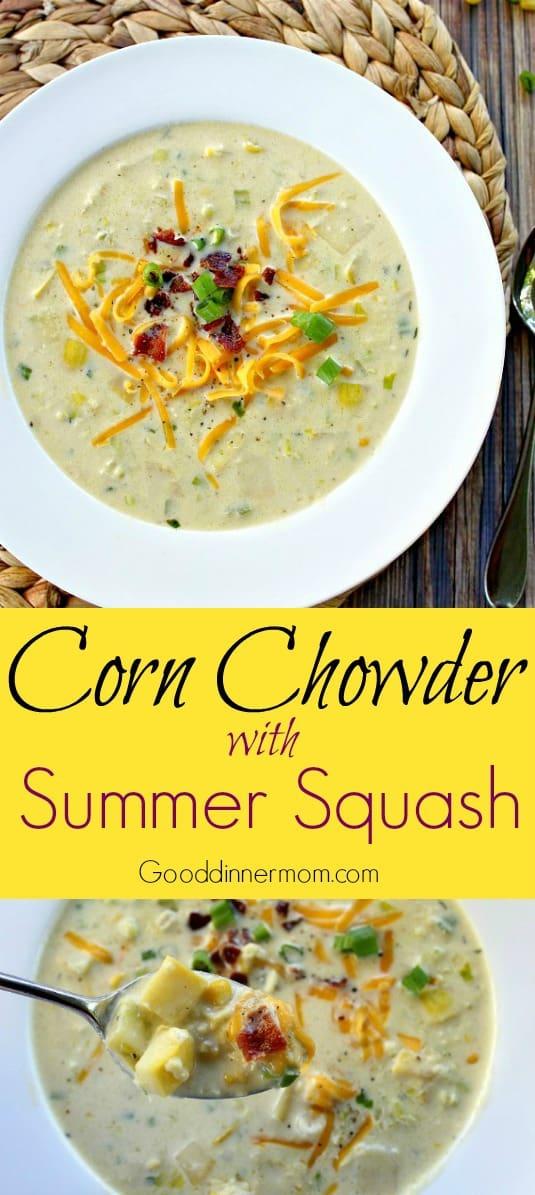 Corn Chowder with Roasted Summer Squash