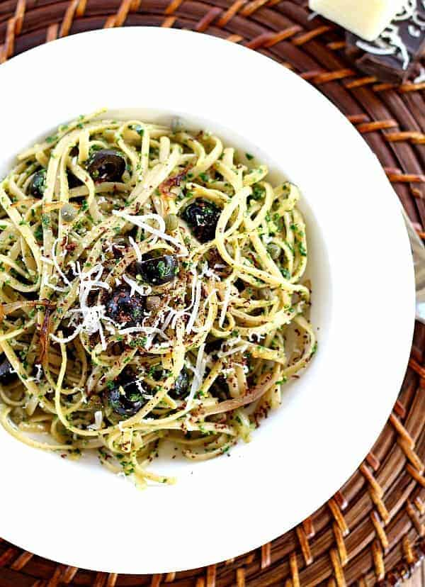 Kale Pesto recipe with Black Olives and Capers. This is one amazing dish with unique but perfectly paired ingredients. Healthy and surprisingly addicting.