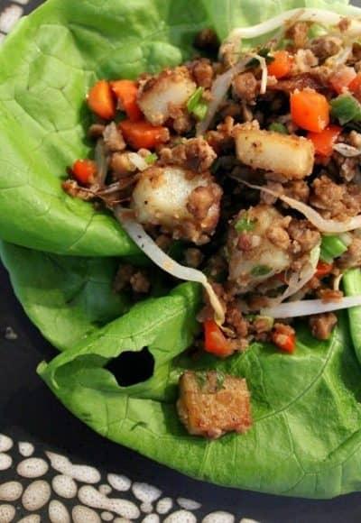 Asian Lettuce Wraps, vegan.