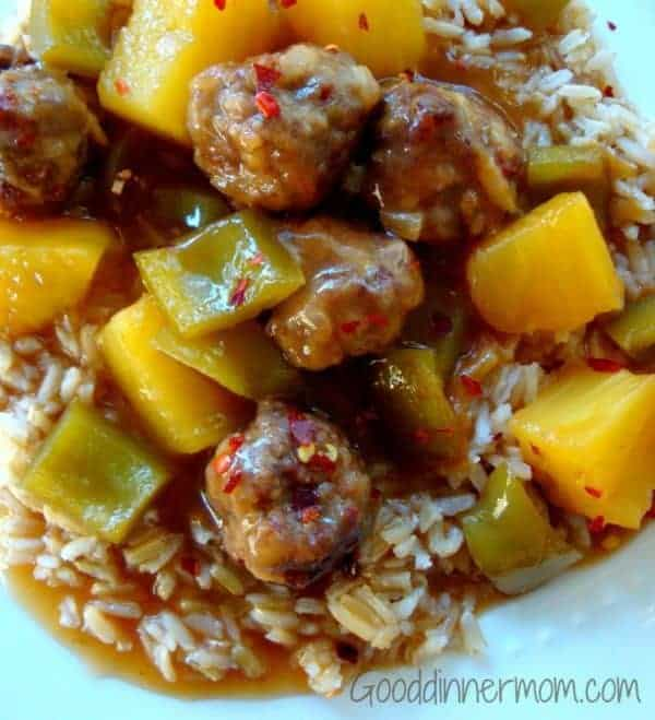 Meatballs with bell peppers and pineapple
