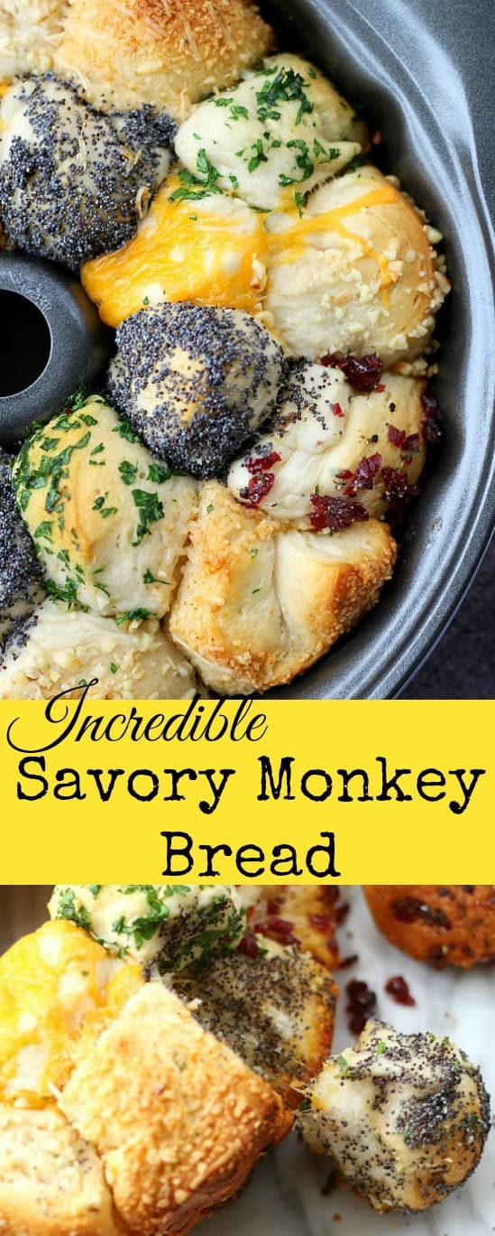 Incredible Savory Monkey Bread #monkeybread #quickbread #pullapartbread #sidedishes #bread #rolls