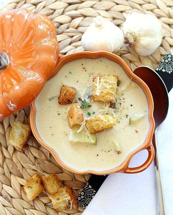 Roasted Garlic Soup with Parmesan Cheese 1