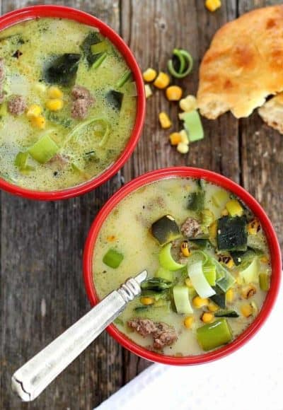 Rosted Poblano Soup is easy to make and tastes like it simmered for hours. Sweet corn, ground beef and a touch of cream make this a satisfying meal.