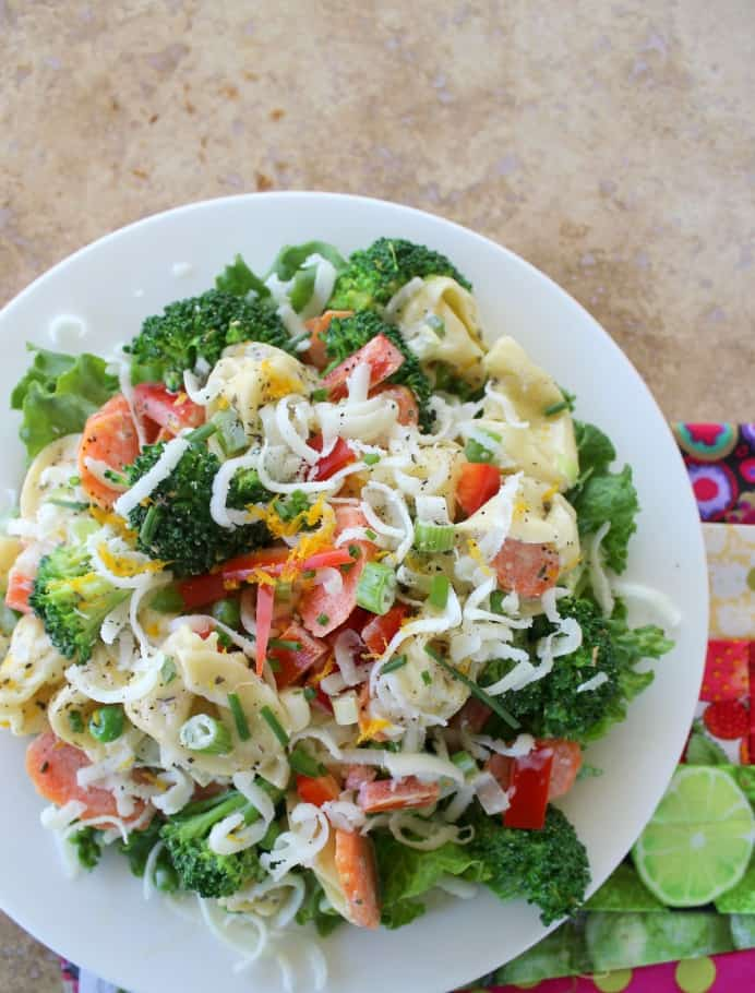 Tortellini Primavera Salad. Cheese tortellini with crisp-fresh veggies, dressed with grated orange peel, thyme, basil and mayonnaise.