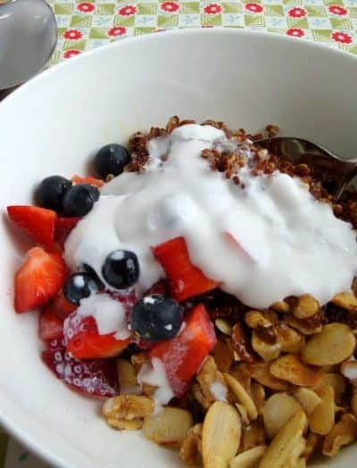 Quinoa, Almonds, Berries, and Coconut Cream