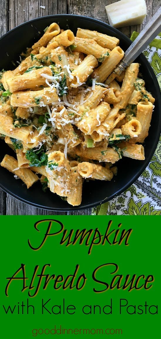 Pumpkin in this alfredo sauce replaces heavy cream with milk and reduces butter in the recipe. Healthy and tasty with Parmesan, cayenne, nutmeg and kale.