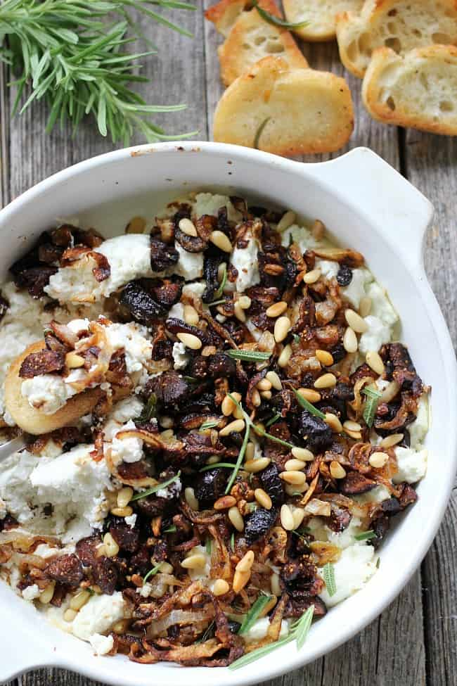 Baked Goat Cheese with Caramelized Onions, Garlic and Dried Figs ...
