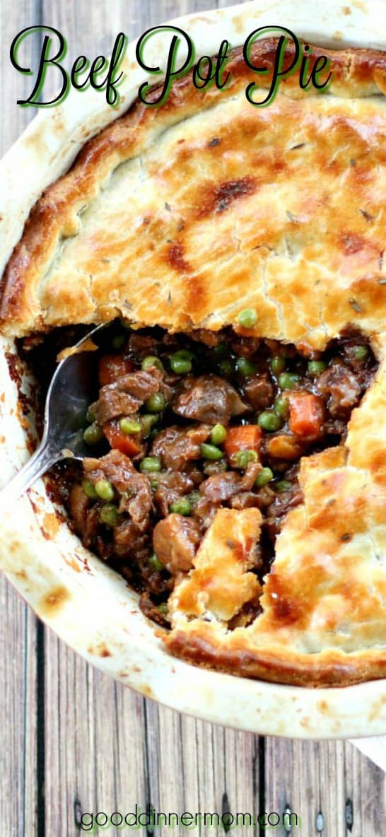The filling in this Beef Pot Pie recipe is guaranteed to create the best, deep-flavored pot pie you've ever tasted. The ultimate comfort food meal. #potpie #roastbeef