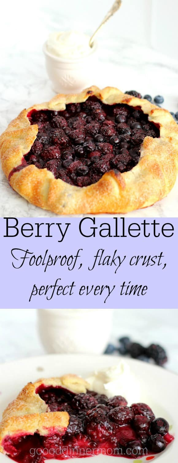 berry galette on marble top with cream in a cup