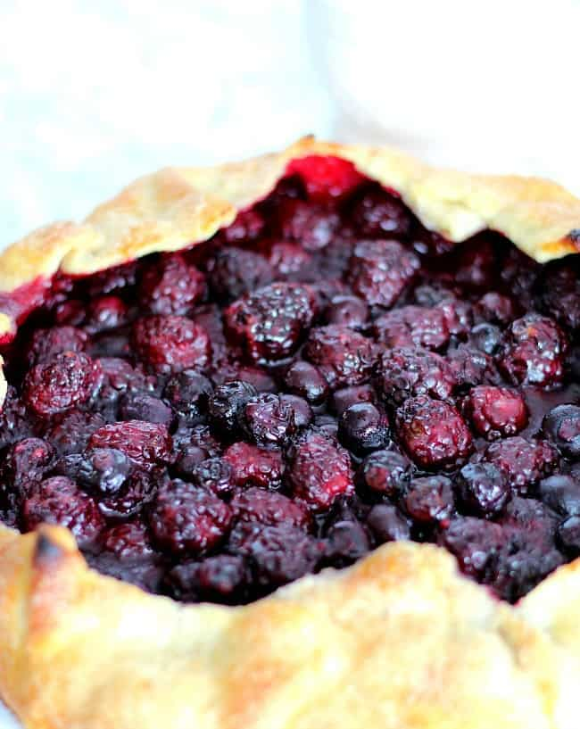 close up of blackberry galette