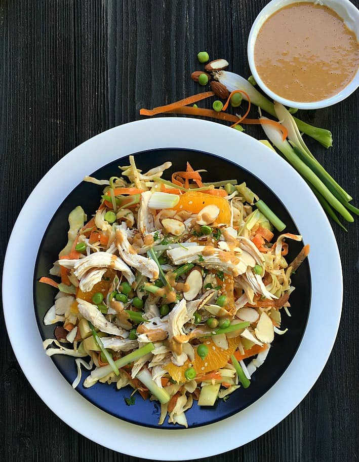 The best Chinese Chicken Salad is right here with fresh vegetables, tender chicken and amazing Asian peanut salad dressing. Ready in under 30 minutes.