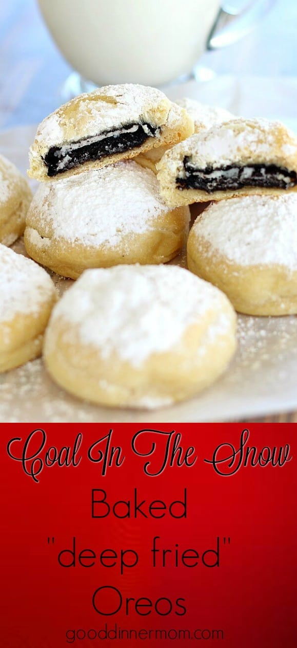 "Oreos are wrapped in crescent dough, sprinkled with powdered sugar and baked in the oven for a very ""cool"" last minute treat."