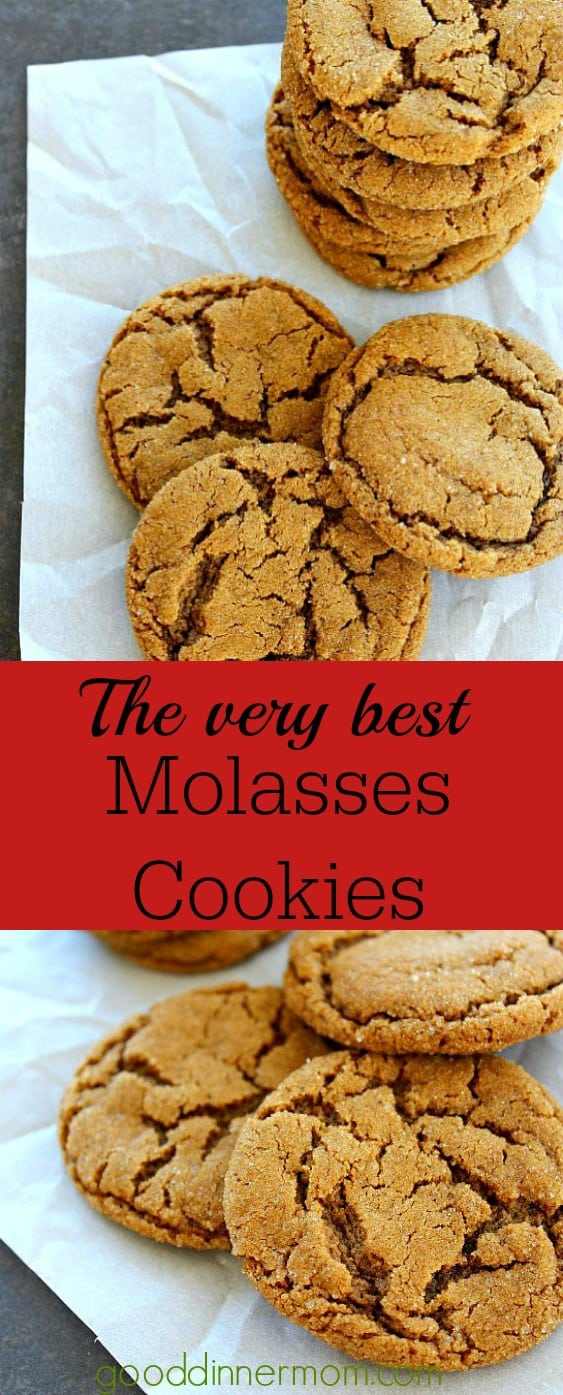 Molasses cookies on a parchment pinterest pin that says the very best molasses cookies