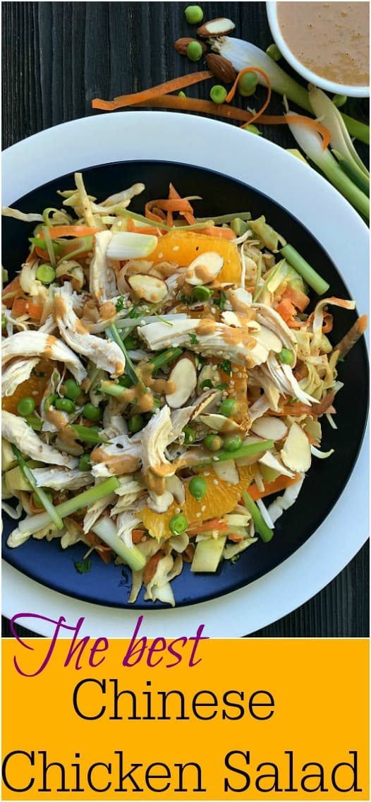 Chinese Chicken Salad, wonderful textures and flavor. Delicious homemade peanut dressing for a fresh chicken salad. #salad #chicken #chinesesalad