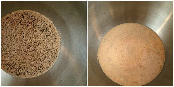 yeast in a bowl before and after sitting