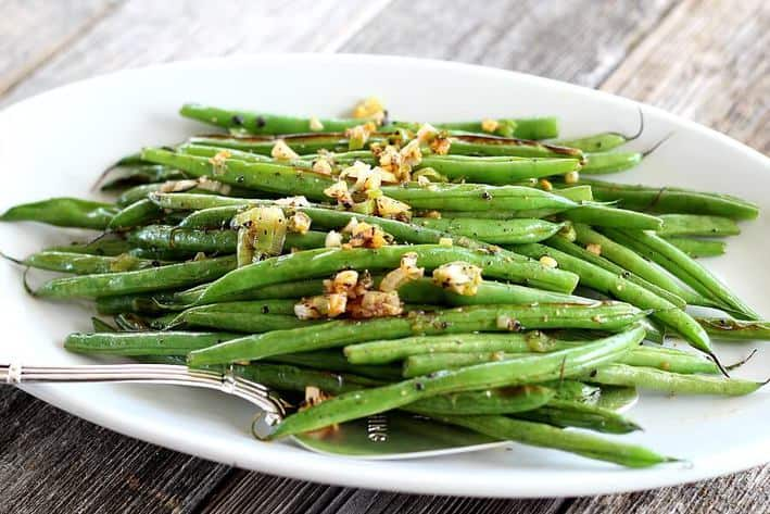 Sichuan Green Beans with ground pepper, ginger, garlic, scallions and a dash of sriracha.